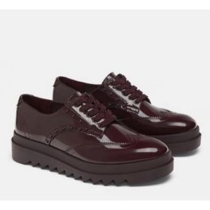 NWT Zara Burgandy Patent Derby Oxfords